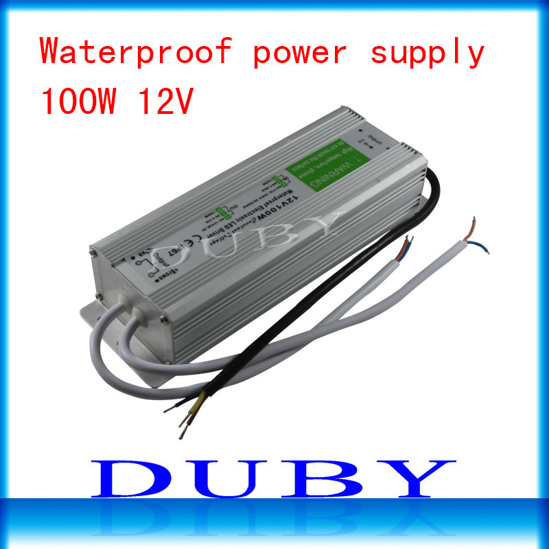 10piece/lot IP67 12V 8.33A 100W AC100-240V Input Electronic Waterproof Led Power Supply/ Led Adapter 12V 100W free fedex ip67 12v 5a waterproof electronic led power supply silver 100 240v