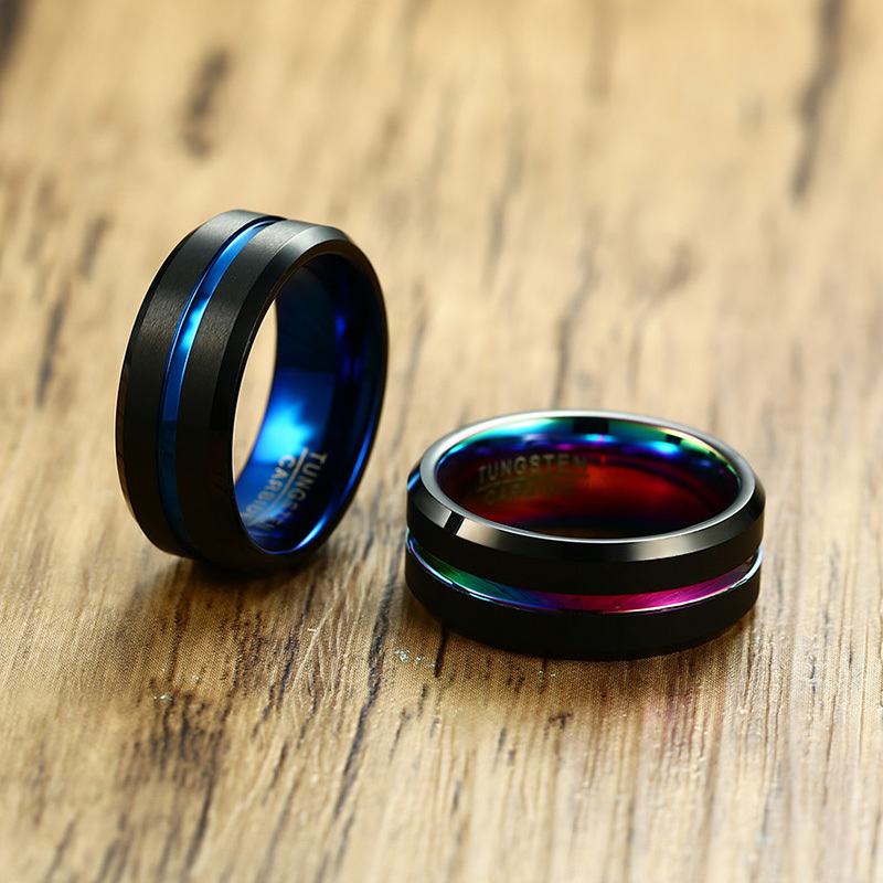 Banda de boda de los hombres dos tonos 8mm negro carburo de tungsteno anillo para los hombres del arco iris ranurado en cepillado Centro biselado bordes joyería masculina