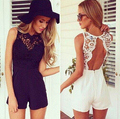 2016 Playsuit Romper Women Clothing Overalls Summer Casual White Black Sleeveless Sexy Lace Jumpsuit