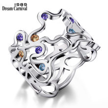 DreamCarnival1989 Sexy Hollow Rings for Lady Purple Champagne Blue Zircon Engagement Jewelry Wholesalers Discount anillos mujer(China)