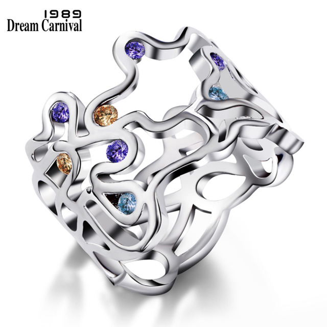 DreamCarnival1989 Sexy Hollow Rings for Lady Purple Yellow Blue Zircon Unique Je