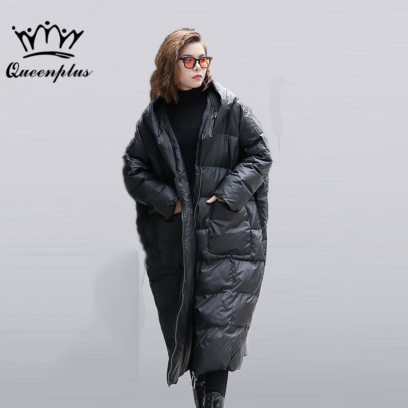Queenplus 2017 new autumn winter hooded long sleeve solid color black cotton-padded loose big size jacke women fashion tide цена и фото
