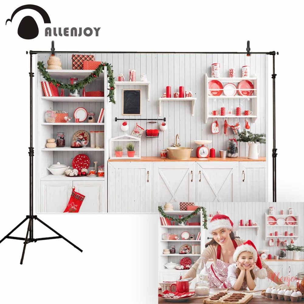 Allenjoy Christmas kitchen background wood for photo studio child cook backdrop photobooth photocall photography photo shoot photographic backdrops christmas red house gift window children celebrate photocall photo studio photobooth fantasy background