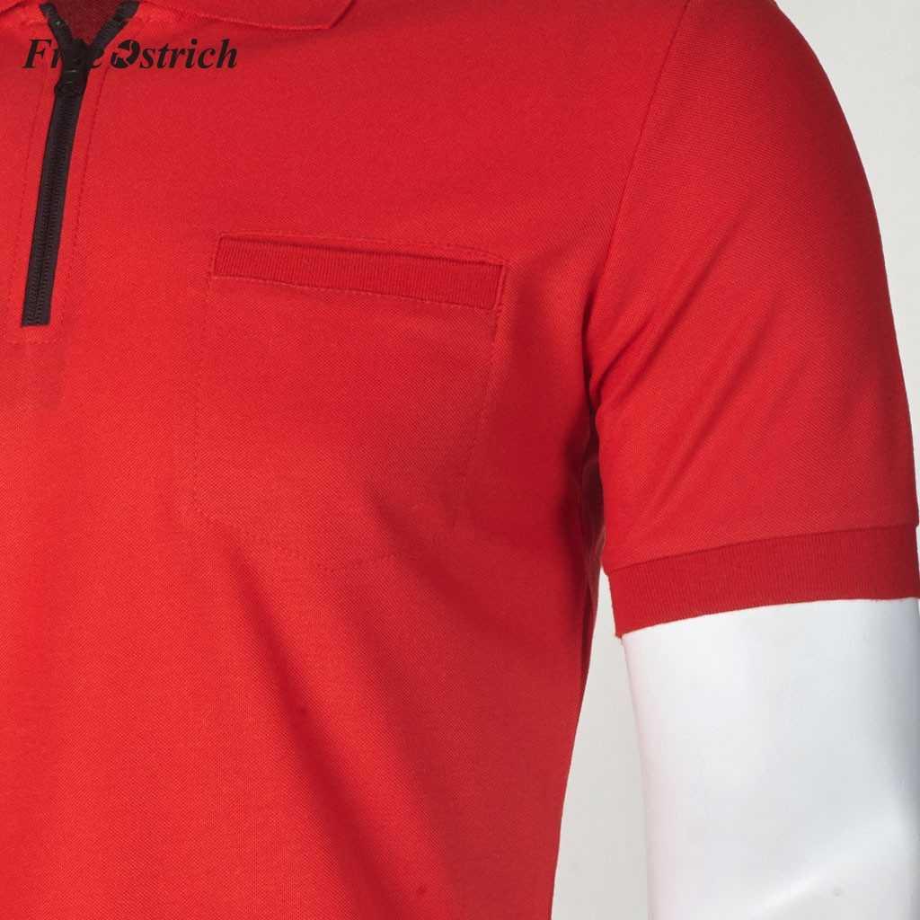 무료 타조 남성용 폴로 셔츠, 포켓 지퍼 짧은 소매 블라우스, 남성용 통기성 소재 턴 다운 칼라 셔츠