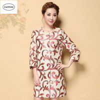 2016 New Fashion Chinese Embroidery Wool Coat Women Autumn Winter Long Tangsuit Tops Long Sleeve O