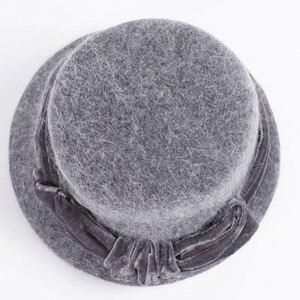 Image 4 - FS נשים צמר ארנב פרווה סרוג פדורה כובע אופנה בציר רחב ברים נקבה חורף כובעי צוואר חם כובע עם צעיף