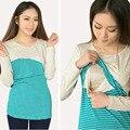 Maternidade algodão top tee roupas de manga longa para as mulheres grávidas alimentação brest gravidez clothing outono trabalho s-xl