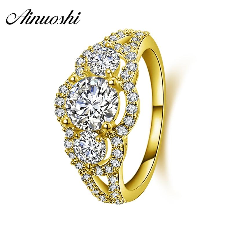 AINUOSHI 10K Solid Yellow Gold Wedding Ring Sona Simulated Diamond Halo Anillos Mujer Bague Brilliant 1 ct Engagement Band Rings