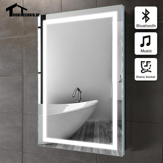 50x70 cm cadre LUMINEUX miroir Mur Bluetooth miroir de salle de ...