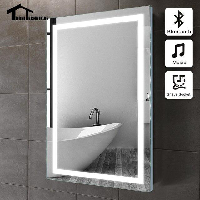 50x70 cm marco iluminado espejo Bluetooth espejo del baño en el ...