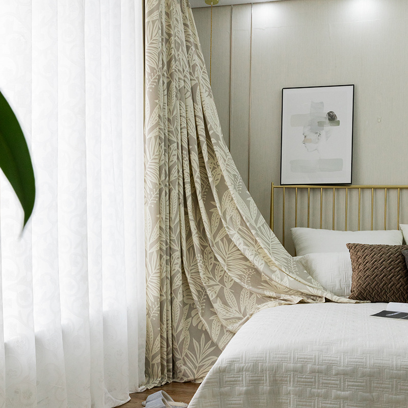 Moderne Simple nouveau Type Polyester/coton imprimé rideaux pour salon et chambre rideaux occultants