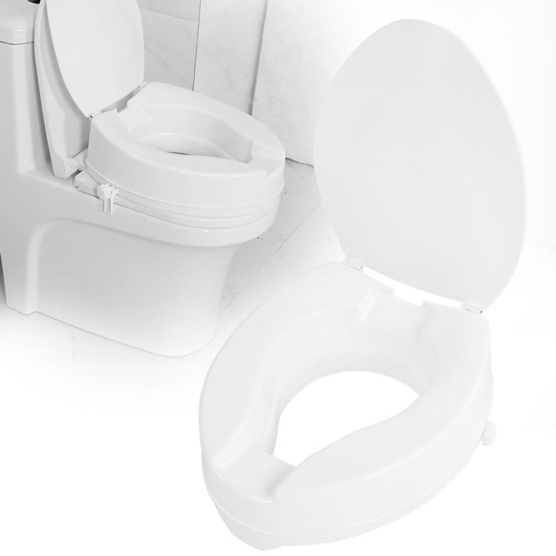 10cm Portable Raised Toilet Seat Elevated Toilet Seat Riser Removable Comfortable support Assists Disabled Elderly