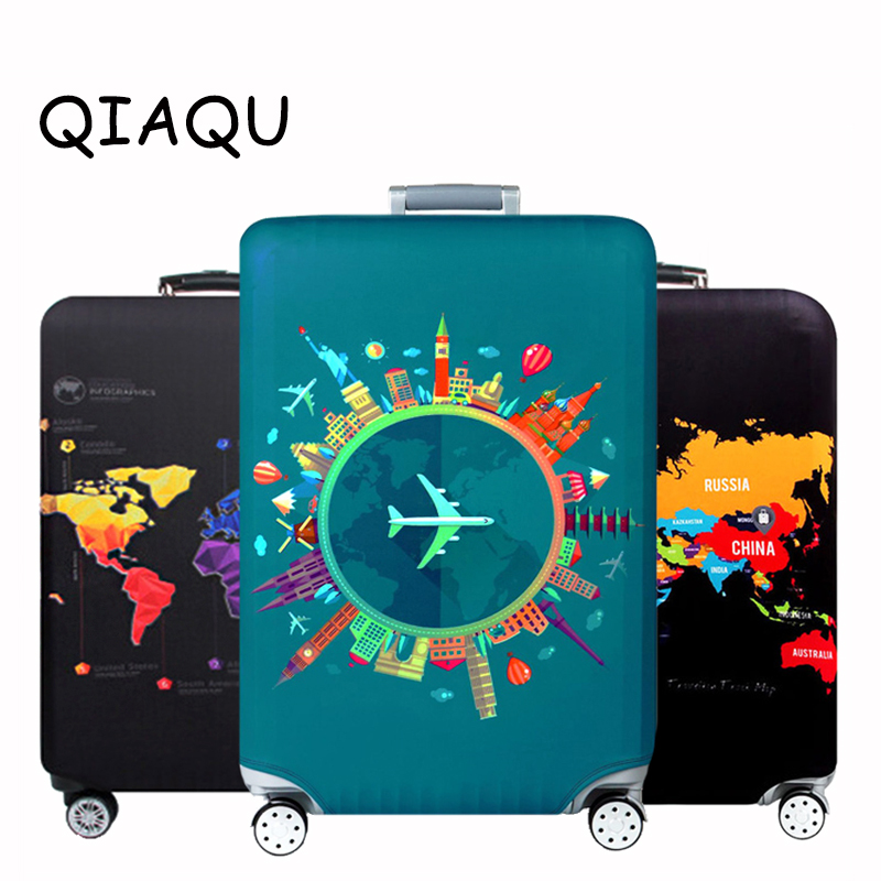 Thick Elastic World Map Luggage Protective Cover Zipper Suit For 18-32 inch Bag Suitcase Covers Trolley Cover Travel AccessoriesThick Elastic World Map Luggage Protective Cover Zipper Suit For 18-32 inch Bag Suitcase Covers Trolley Cover Travel Accessories