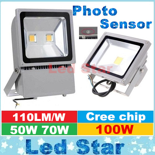 Cree 50w 70w 100w Led Garden Landscape Lighting Photo Sensor Led Floodlight Outdoor Wall Lamp Ac
