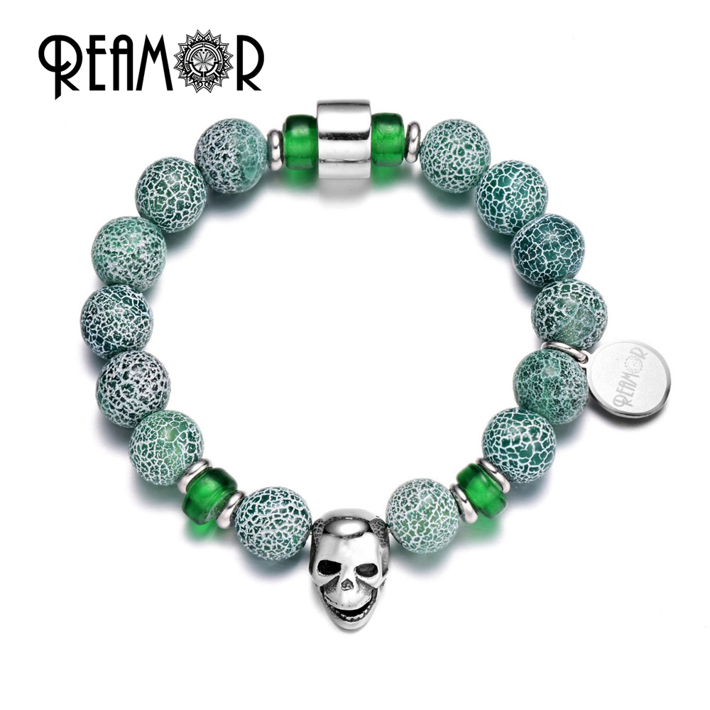 REAMOR Women Luxury Natural Green Crack Weathered Onyx Stretch Bracelet Polished Stainless Skull Head Elastic Bracelets Jewelry