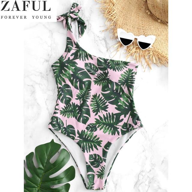 e47c4a74485e9 ZAFUL One Shoulder High Leg Palm Print One Piece Swimsuit Women Swimwear  Bandage Swimsuit Bathing Suit