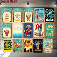 Beach Surf Poster Vintage Metal Tin Sign Hawaii Party Art Painting Pub Bar Club Outdoor Home Decoration Miami Wall Stickers N293