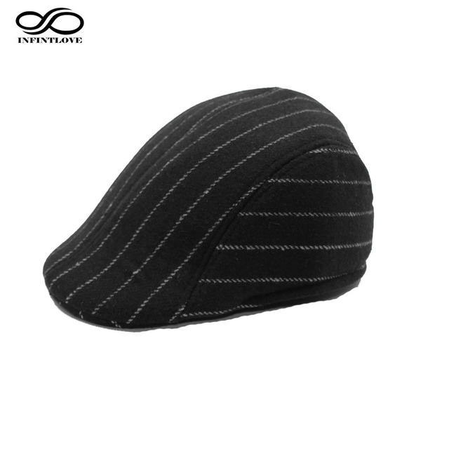 83731b171bc LUCKYLIANJI Men Winter Warm Cotton Gatsby Newsboy Stripe Flat Cap Driving  Casual Cabbie Hat For Father (One Size 58cm)
