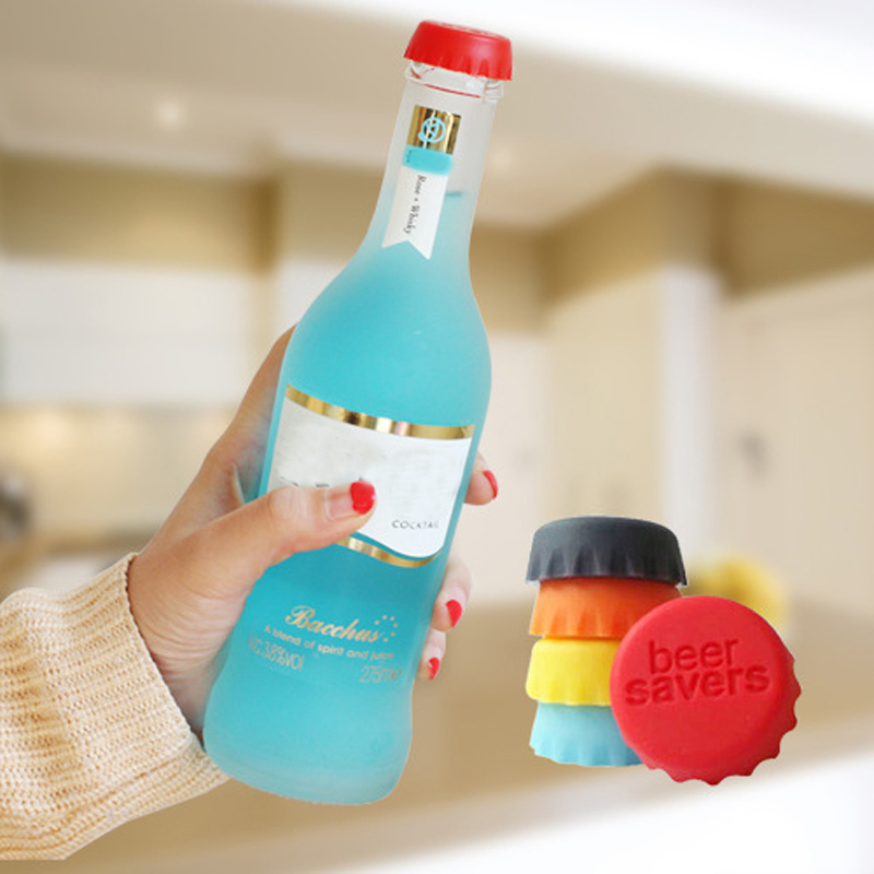 6pcs lot New Kitchen multicolor Silicone Button Beer Wine Cork Stopper Plug Bottle Cap Cover Perfect Home Kitchen Tools