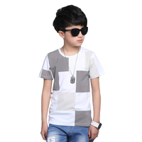 2017 Children Tops For Boys Cotton Short Sleeve T Shirts Summer Children Plaid Tees Kids Big
