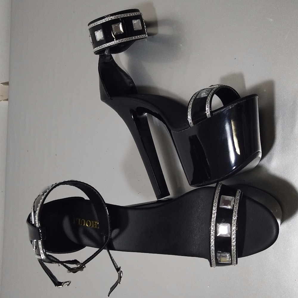 Mode Haute Exotique Noir forme Chaussures Clubbing 7 Femmes Glitter Talons Sandales Danseuse Plate Cm Pouce De Punk 17 Magnifique Pour Sexy awRE1nx