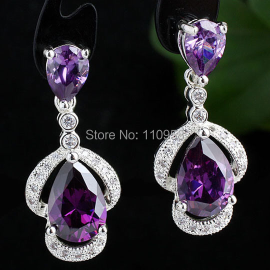 Women Sterling 925 Silver Earrings Double Pear Cut CZ Jewelry E094