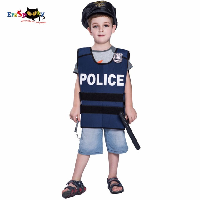 b65fd303401 2018 New Arrival Halloween Costume For Boys Kid Police Vest Cosplay  Policemen Costumes Party Children Carnival Uniform
