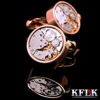 KFLK jewelry shirt cufflink for mens Brand cuff buttons watch movement cuff link High Quality abotoaduras gemelos Jewelry
