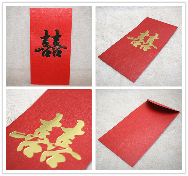 Купить с кэшбэком Free shipping 25pcs/1lot big wedding red packets bride and groom married envelopes Chinese character marry decoration ornaments