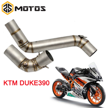 ZS MOTOS Motorcycle Exhaust Middle Pipe Round Muffler For KTM DUKE125 200 250 390 2012-2014