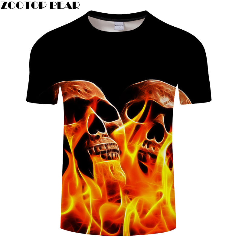 2018 New Fire&Skull 3D Print t shirt Men Women tshirts Summer Casual Short Sleeve Boy Tops&Tees Streatwear Drop Ship ZOOTOP BEAR