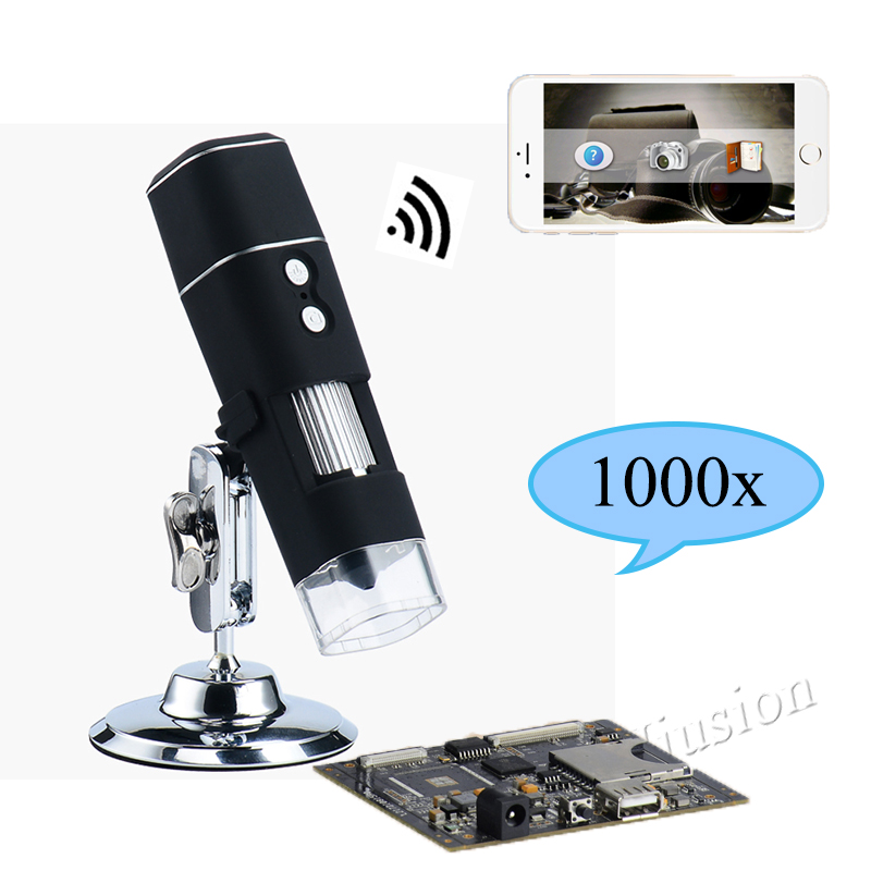 1000X WiFi Digital Microscope for Android Iphone Mobile Phone 8 LED Kids Digital Microscope USB Endoscope Zoom Camera digital wifi microscope camera with android ios mobile phone live monitoring app