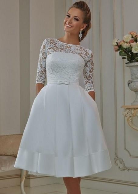 Aliexpresscom Buy Cheap White Ivory Lace Short Wedding Dresses