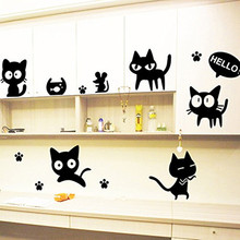 Eco-Friendly 5 pcs Set Big cat Decal Art  Home Decor Decals DIY Black Wall Sticker Windows Furniture Y-207