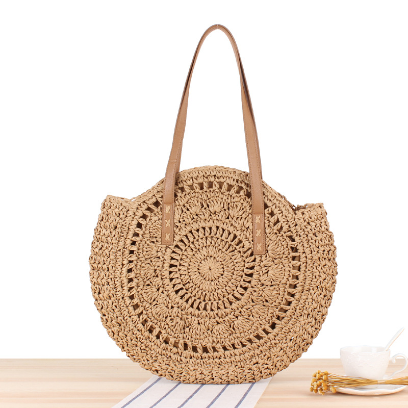 Summer Straw Beach Bags Handmade Round Women Shoulder Bags Raffia Circle Rattan Tote Bags Bohemian Casual Woven Handbags CJ895