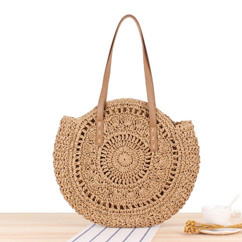 Summer Straw Beach Bags Handmade Round Women Shoulder Bags Raffia Circle Rattan Tote Bags Bohemian Casual Woven Handbags CJ895
