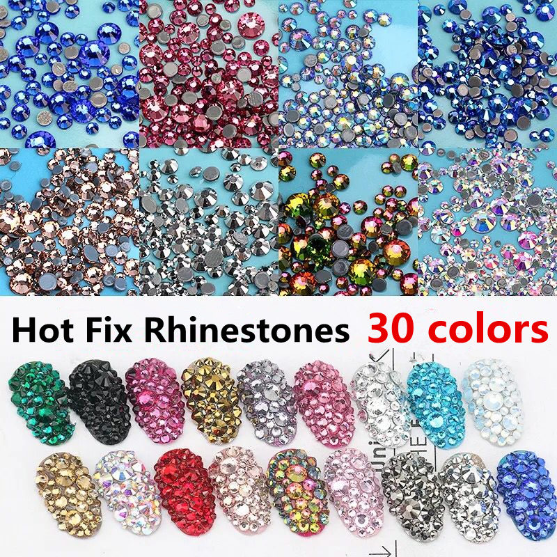 High Quality Colorful DMC Hot Fix Rhinestones Crystal AB SS6 To SS30 Flatback  Hotfix For Clothes