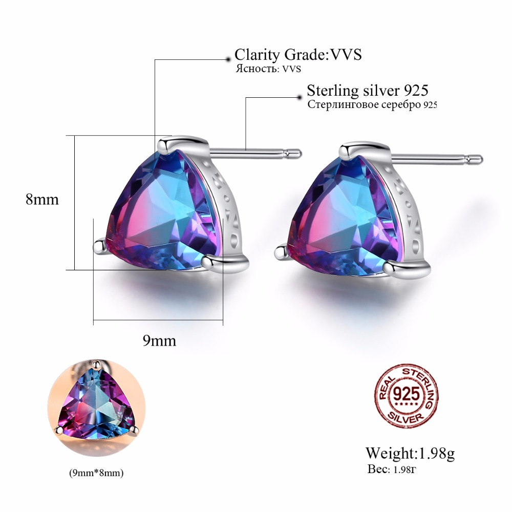 CZCITY Mewah Rainbow Topaz Stud Earrings Nyata 100% 925 Sterling - Perhiasan bagus - Foto 3