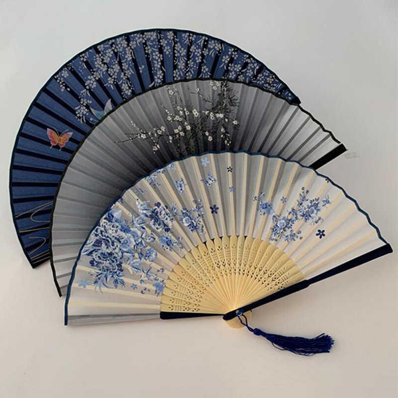 1pc 装飾ファンヴィンテージ中国紡績シルクフラワー手ファン折りたたみ中空彫刻装飾工芸品