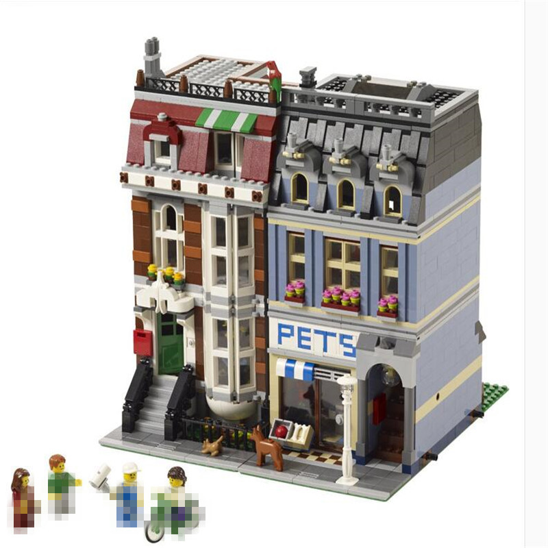 LEPIN 15009 2082Pcs Street View series Pet shop Model Building Blocks Set Bricks Toys For Children Gift 10218 Educational toys lepin 15009 city street pet shop model building kid blocks bricks assembling toys compatible 10218 educational toy funny gift