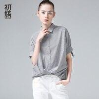 Toyouth Women Summer Blouse Casual Turn Down Collar Stripe Printed Half Sleeve Shirt Fashion Female Stripe