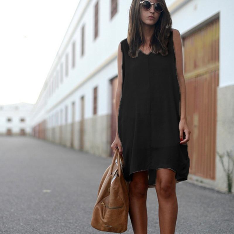 Летние женские повседневные асимметричные платья, однотонные платья без рукавов с v-образным вырезом, одежда для женщин, женская одежда, ...