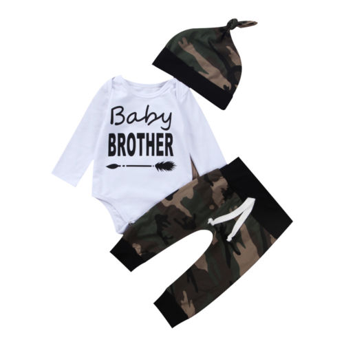 3Pcs Newborn Baby Boys Outfits Long Sleeve Romper Casual Camouflage Pants Hat Clothes Sets Spring Summer 0-24M
