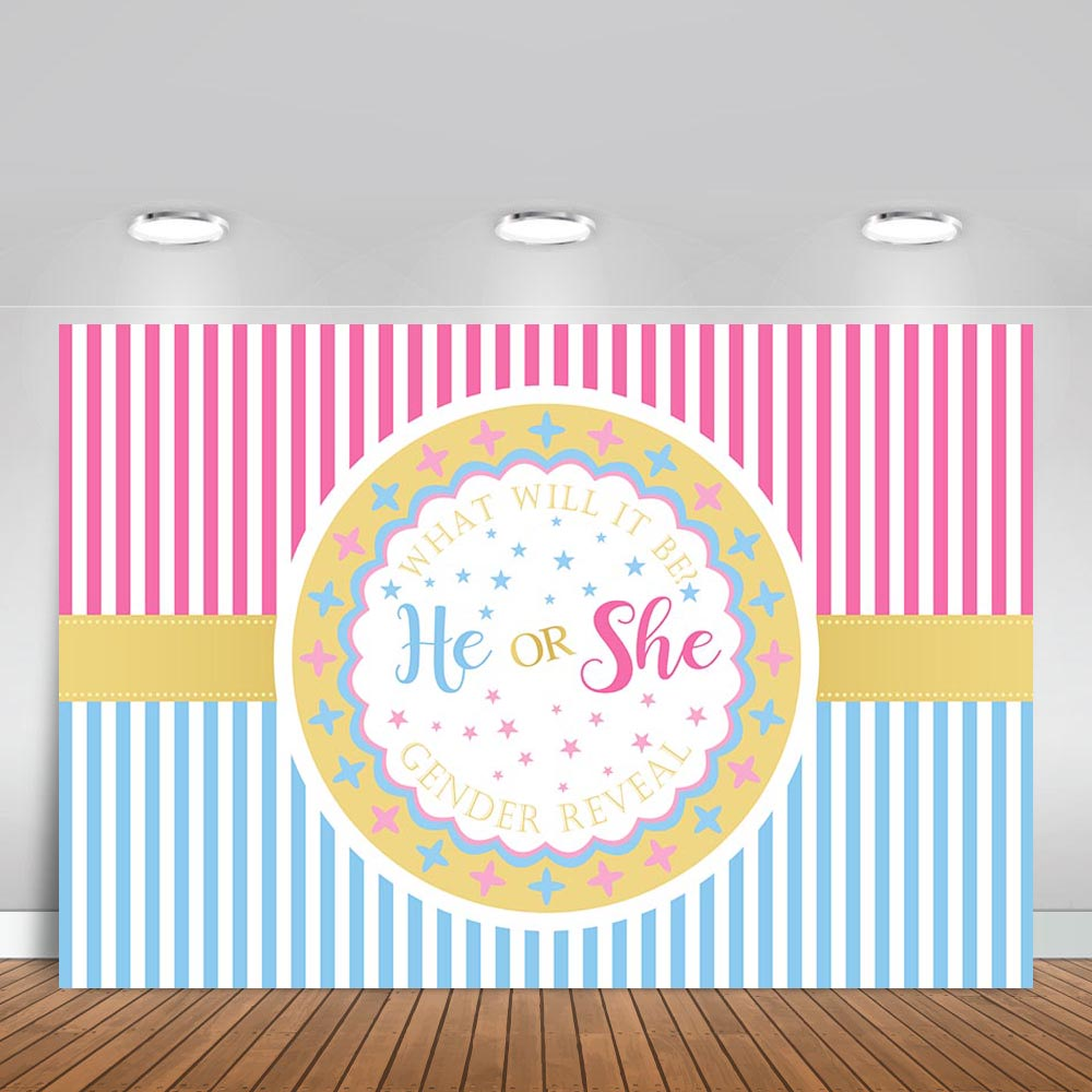 Vinyl Photography Backgrounds Baby Shower Boy or Girl Gender Reveal Party Bithday Bulw Pink Stripes Decor Backdrop Photo Studio in Background from Consumer Electronics