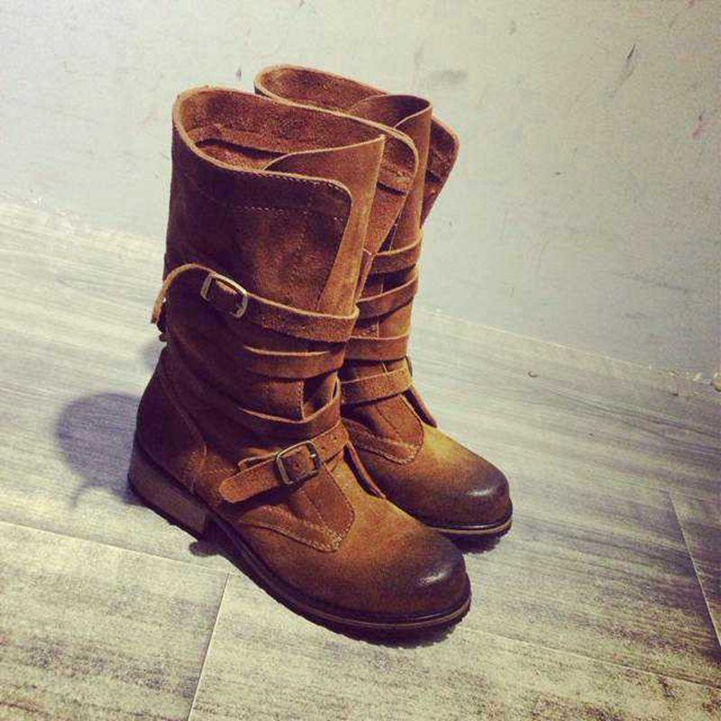 Vente chaude automne hiver classique bout rond mixte couleur moto bottines appartements ceinture boucle sangle femmes chaussures en cuir