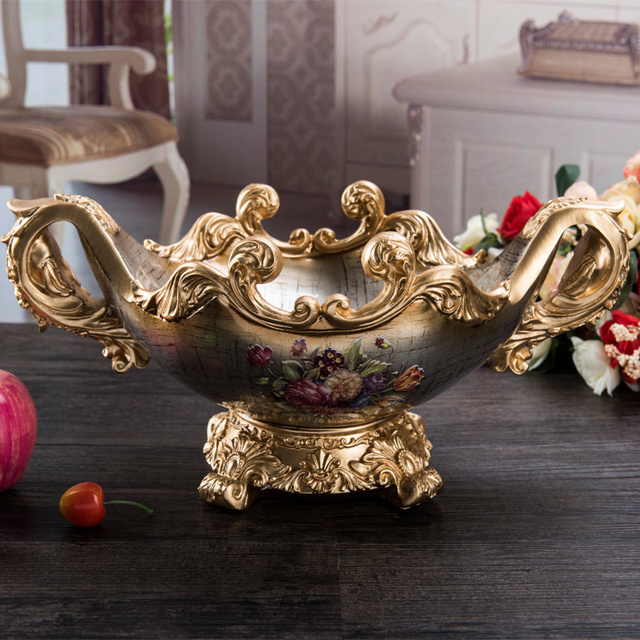 high-grade fruit plate decoration decoration living room Home Furnishing coffee candy dish retro housewarming gift