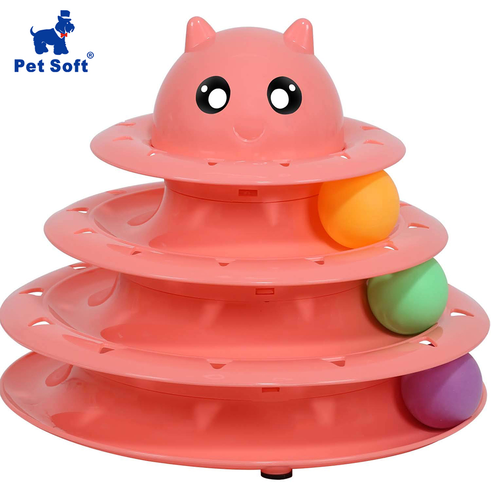 Pet Soft Pet Interactive Toys Cat Three-Tier Turntable Pet Intellectual Track Tower Funny Cat Toy Plate Rotatable Turntable Toy