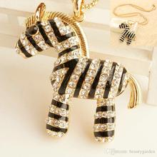 50pcs/lot Womans Necklace Neck Chain With Crystal Zebra Pendant Sweater Party Stage Jewelry jn080