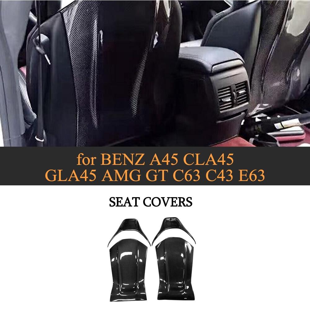 Carbon Fiber Gloss Matt Seat Back Backseat Trim Covers fit for Mercedes Benz A45 CLA45 GLA45 AMG GT C63 C43 E63 12 18 4PC/Set Bumpers     - title=