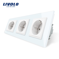 Livolo New EU Standard Power Socket, White Crystal Glass Outlet Panel, Multi function Triple Wall Power Outlet Without Plug
